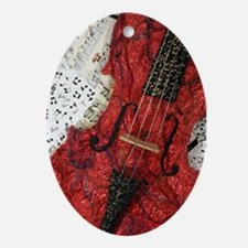 Red Violin Oval Ornament