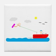 Cute Wakeboarding Tile Coaster