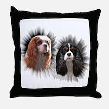 Tricolor Blenheim Cavalier Starburst Throw Pillow