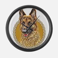 German Shepherd (Alsation) 001 Large Wall Clock