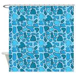Blue Leopard Outline Shower Curtain