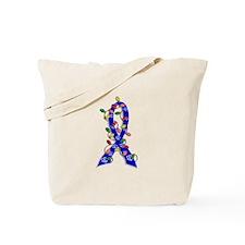 Christmas Lights Ribbon Anal Cancer Tote Bag