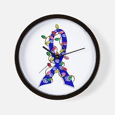 Christmas Lights Ribbon Anal Cancer Wall Clock