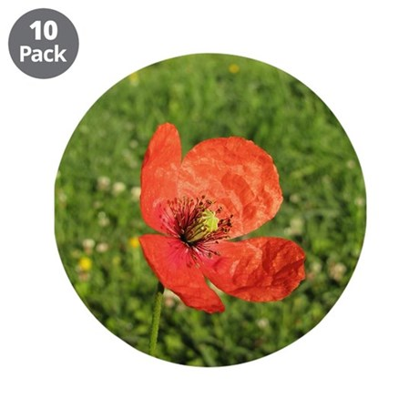 """Single Red Poppy 3.5"""" Button (10 pack)"""