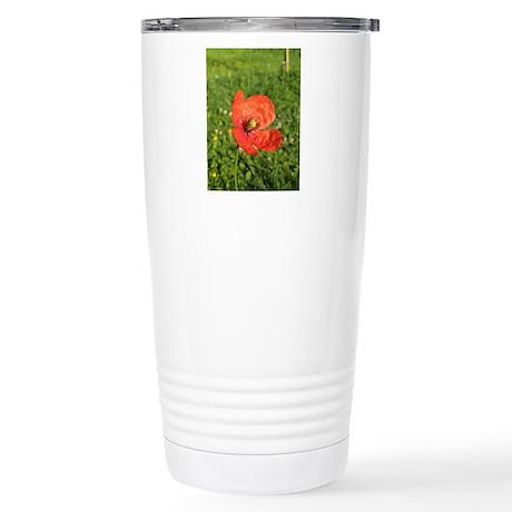 Single Red Poppy Stainless Steel Travel Mug