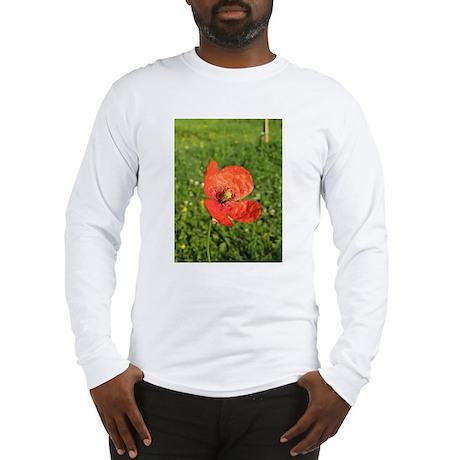 Single Red Poppy Long Sleeve T-Shirt