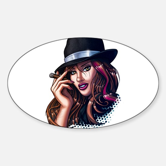 Smoking Gangster Girl Sticker (Oval)