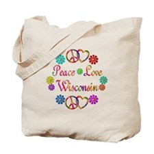 Peace Love Wisconsin Tote Bag