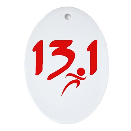 Red 13.1 half-marathon Ornament (Oval)