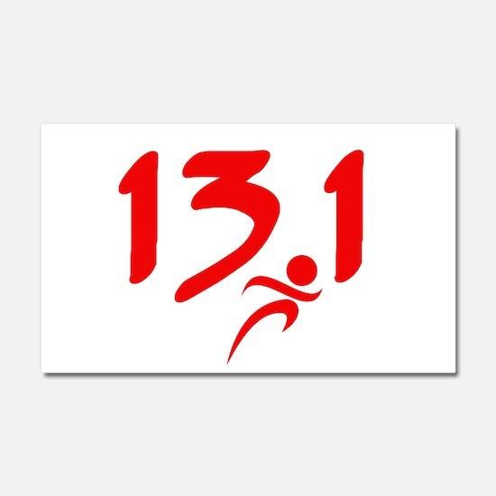 Red 13.1 half-marathon Car Magnet 20 x 12