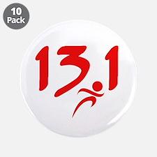 """Red 13.1 half-marathon 3.5"""" Button (10 pack)"""