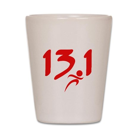 Red 13.1 half-marathon Shot Glass