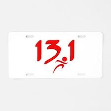 Red 13.1 half-marathon Aluminum License Plate
