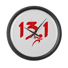 Red 13.1 half-marathon Large Wall Clock