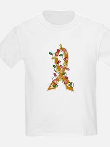 Christmas Lights Ribbon Appendix Cancer T-Shirt
