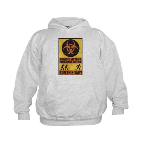 Zombie Attack Emergency Shelter Kids Hoodie