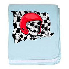 Skull Crossbones Racing baby blanket