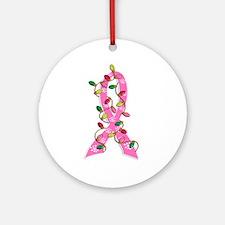 Christmas Lights Ribbon Breast Cancer Ornament (Ro