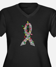 Christmas Lights Ribbon Brain Cancer Women's Plus