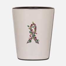 Christmas Lights Ribbon Brain Cancer Shot Glass