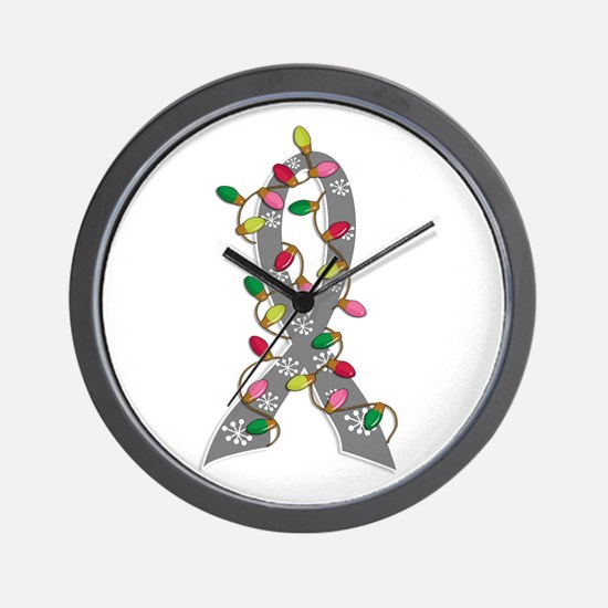 Christmas Lights Ribbon Brain Cancer Wall Clock