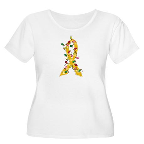 Christmas Lights Ribbon Childhood Cancer Women's P
