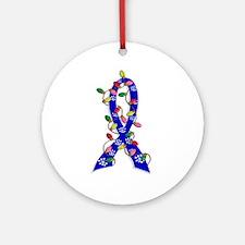 Christmas Lights Ribbon Colon Cancer Ornament (Rou