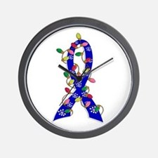 Christmas Lights Ribbon Colon Cancer Wall Clock
