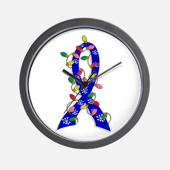 Christmas Lights Ribbon Colon Cancer Wall Clock