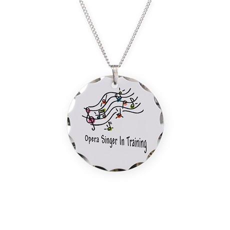Opera Singer Necklace Circle Charm