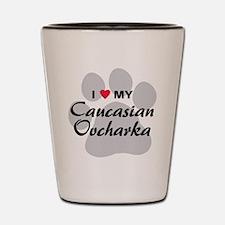 Love My Caucasian Ovcharka Shot Glass