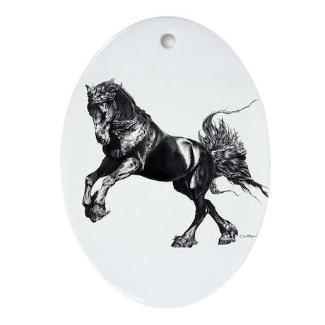Keegan, Friesian Stallion Ornament (Oval)