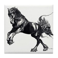 Keegan, Friesian Stallion Tile Coaster