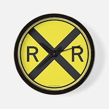Yellow RR X-ing Wall Clock