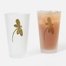 Dragonfly Gold Drinking Glass