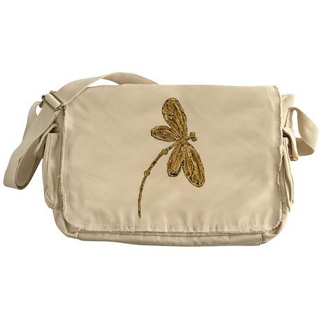 Dragonfly Gold Messenger Bag