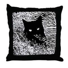 Black Cat in the Grass Throw Pillow