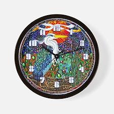 Wall Clock Heron tropical landscape geometric art