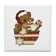 Sweet Christmas Bear Tile Coaster