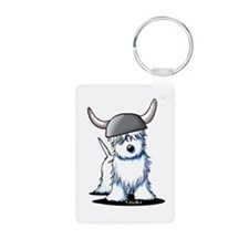Viking Westie Terrier Aluminum Photo Keychain