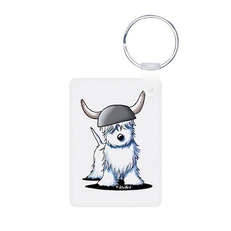 Viking Westie Terrier Aluminum Photo Keychain