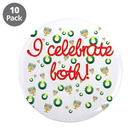 "Hanukkah AND Christmas 3.5"" Button (10 pack)"