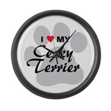 I Love My Cesky Terrier Large Wall Clock