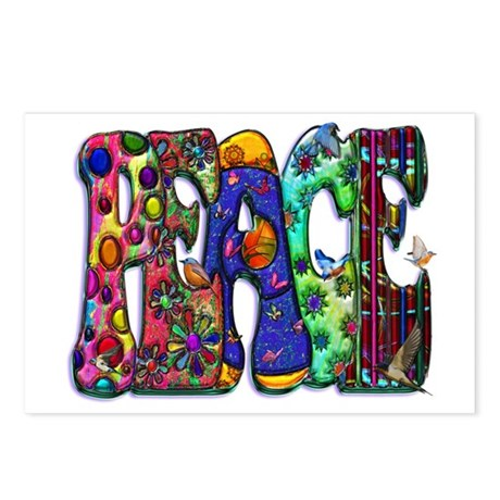 Peace Word Art Birds and Butt Postcards (Package o