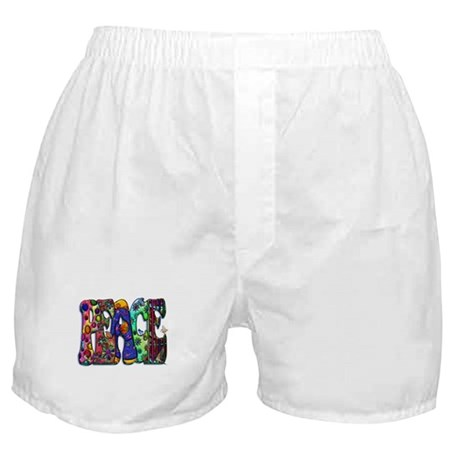 Peace Word Art Birds and Butt Boxer Shorts