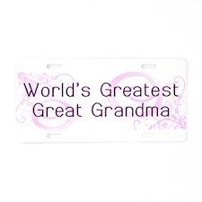 World's Greatest Great Grandma Aluminum License Pl