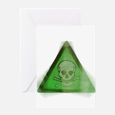 Green Grunge Poison Sign Greeting Card