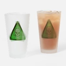 Green Grunge Poison Sign Drinking Glass