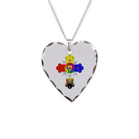 Rose Cross Necklace Heart Charm