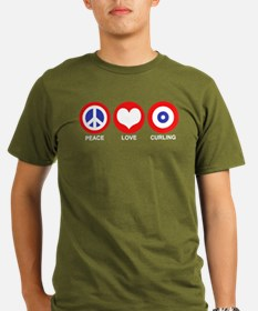 Peace Love Curling Organic Men's T-Shirt (dark)